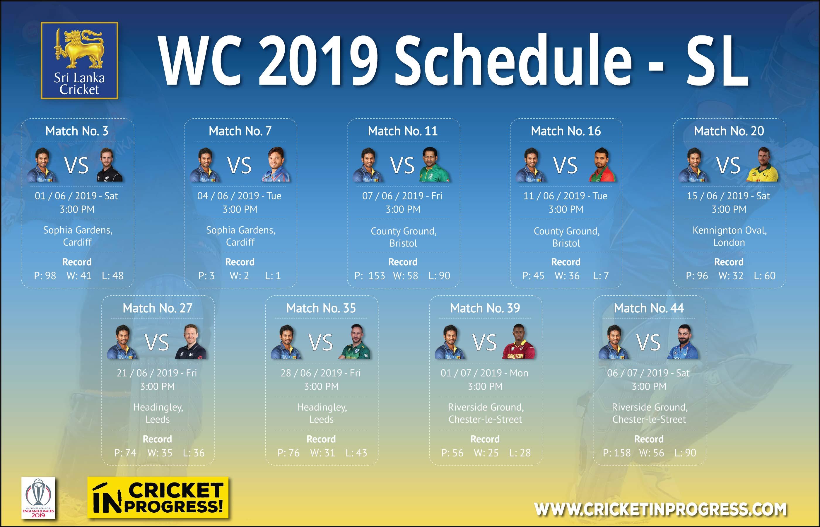 CWC 2019 Srilanka Schedule